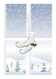 Patins e uma paisagem do inverno Fotos de Stock