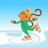Patins engraçados do macaco no gelo Fotografia de Stock
