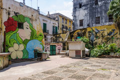 Patio με το Λα Habana Vieja, Κούβα γκράφιτι Στοκ Εικόνες