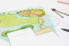 Patio πετρών σχεδίου αρχιτεκτόνων τοπίου στο σχέδιο κήπων κατωφλιών στοκ εικόνες με δικαίωμα ελεύθερης χρήσης