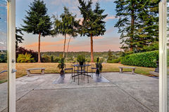 Patio area with scenic view during sunset Royalty Free Stock Photo