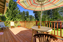 Patio area on walkout deck royalty free stock images