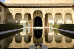 Patio of Arrayanes of Alhambra, Granada, Spain. Courtyard in the Palacio Nazaries at the Alhambra in Granada, Spain Stock Photography