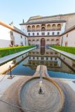 Patio of Arrayanes in Nasrid Palaces, Alhambra, Granada. Patio of Arrayanes, Court of Myrtles, and Palacio Comares in Nasrid Palaces, Alhambra, Granada stock photo