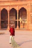 Patio arrebatador del trabajador local de Jahangiri Mahal en el fuerte de Agra, Fotos de archivo