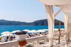 Patio auf dem Strand Lizenzfreies Stockfoto