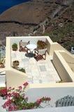 Patio auf Santorini Lizenzfreies Stockfoto