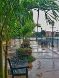 Patio bagnato dopo pioggia Fotografie Stock Libere da Diritti