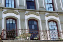 Patio balcony building front Royalty Free Stock Images