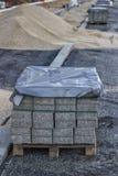 Patio bloki na drewnianym barłogu Obraz Stock