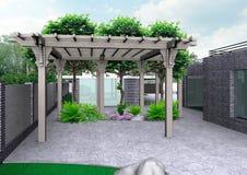 Patio casero y fondo hortícola, representación 3D stock de ilustración