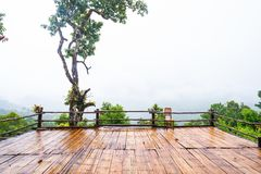 Patio and chair wood Mountain landscape nature royalty free stock photography