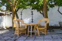 Patio chairs. In quiet surroundings Royalty Free Stock Photo