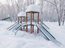 Patio cubierto con nieve Fotografía de archivo libre de regalías