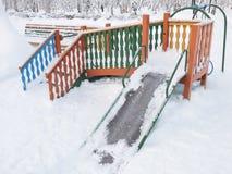 Patio cubierto con nieve Imagenes de archivo