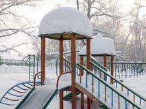 Patio cubierto con nieve Foto de archivo libre de regalías