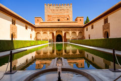 Patio de Arrayanes in the Alhambra de Granada. Stock Photos