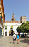 Patio de Banderas and the Giralda Tower, Seville, Andalusia, Spain Stock Images