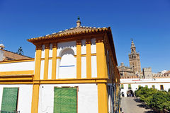Patio de Banderas and the Giralda Tower, Seville, Andalusia, Spain Stock Image
