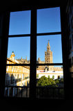 Patio de Banderas and the Giralda Tower, Seville, Andalusia, Spain Royalty Free Stock Images