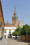 Patio de Banderas y el Giralda se elevan, Sevilla, Andalucía, España Imagen de archivo libre de regalías
