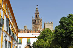 Patio de Banderas y el Giralda se elevan, Sevilla, Andalucía, España foto de archivo libre de regalías