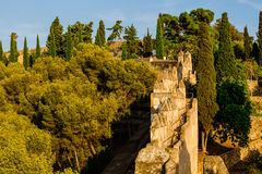 Patio de Castillo de Gibralfaro Imágenes de archivo libres de regalías