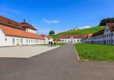 Patio de la abadía de Einsiedeln en Suiza Imágenes de archivo libres de regalías