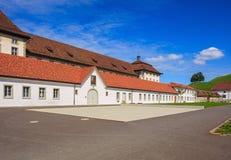 Patio de la abadía de Einsiedeln en Suiza Fotos de archivo libres de regalías