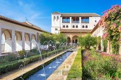 Patio de la Acequia of Generalife in Alhambra palace. Granada, S Royalty Free Stock Photos