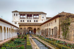 Patio DE La Acequia in Generalife, Granada, Spanje stock foto's