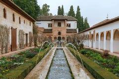 Patio DE La Acequia in Generalife, Granada, Spanje royalty-vrije stock fotografie