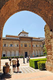 Patio de la Monteria, Alcazar Royal in Seville, Spain. Mudejar facade of the Palace of Peter 1, Courtyard of the Hunting, Alcazar in Seville, Andalusia, Spain Royalty Free Stock Images