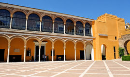 Patio de la Monteria, Alcazar Royal in Seville, Spain. Mudejar facade of the Palace of Peter 1, Courtyard of the Hunting, Alcazar in Seville, Andalusia, Spain Stock Photography