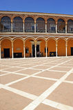 Patio de la Monteria, Alcazar Royal in Seville, Spain. Mudejar facade of the Palace of Peter 1, Courtyard of the Hunting, Alcazar in Seville, Andalusia, Spain Royalty Free Stock Photos