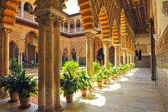 Patio de las Doncellas,城堡皇家在塞维利亚,西班牙 库存图片