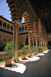 Patio de Las Doncellas, Alcazar königlich in Sevilla, Spanien Stockfoto