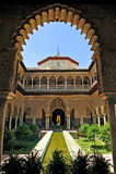 Patio de Las Doncellas, Alcazar königlich in Sevilla, Spanien Lizenzfreie Stockfotografie