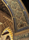 Patio de las Doncellas, Alcazar Royal in Seville, Spain. Detail of Mudejar architecture, Courtyard of the Maidens, Alcazar in Seville, Andalusia, Spain Royalty Free Stock Photo