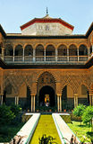 Patio de las Doncellas, Alcazar Royal in Seville, Spain. Detail of Mudejar architecture, Courtyard of the Maidens, Alcazar in Seville, Andalusia, Spain Stock Image