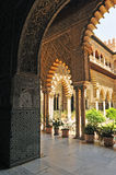 Patio de las Doncellas, Alcazar Royal in Seville, Spain. Mudejar architecture, Courtyard of the Maidens, Alcazar in Seville, Andalusia, Spain Stock Images