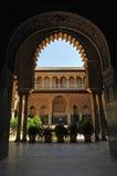 Patio de las Doncellas, Alcazar Royal in Seville, Spain. Mudejar architecture, Courtyard of the Maidens, Alcazar in Seville, Andalusia, Spain Royalty Free Stock Images