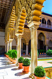 Patio de las Doncellas in Alcazar of Seville Stock Image