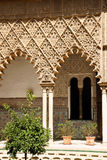 Patio de las Doncellas in Seville. Mudejar decorations in the Patio de las Doncellas (Courtyard of the Maidens) from Peter the first Palace in the Royal Alcazars royalty free stock image