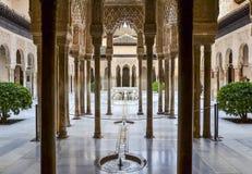 Patio de lions à Alhambra, Grenade, Espagne Photos libres de droits