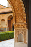 Patio de los Arrayanes, Alhambra palace in Granada, Spain. Arab art, plaster work and azulejos, courtyard named Patio de los Arrayanes, Palace of Alhambra in Royalty Free Stock Photography