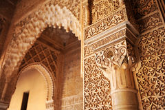 Patio de los Leones, Alhambra palace in Granada, Spain. Arab art, closeup of plaster work, Courtyard of the Lions, named Patio de los Leones, Palace of Alhambra Stock Images