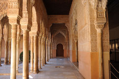 Patio de los Leones, Alhambra palace in Granada, Spain. Arab art, Courtyard of the Lions, named Patio de los Leones, Palace of Alhambra in Granada, Andalucia Stock Image