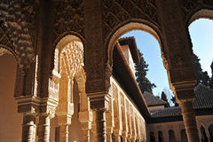 Patio de los Leones, Alhambra palace in Granada, Spain. Arab art, plaster work and azulejos, Courtyard of the Lions, named Patio de los Leones, Palace of Royalty Free Stock Photography