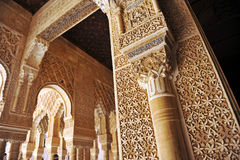 Patio de los Leones, Alhambra palace in Granada, Spain. Arab art, plaster work and azulejos, Courtyard of the Lions, named Patio de los Leones, Palace of Stock Photography